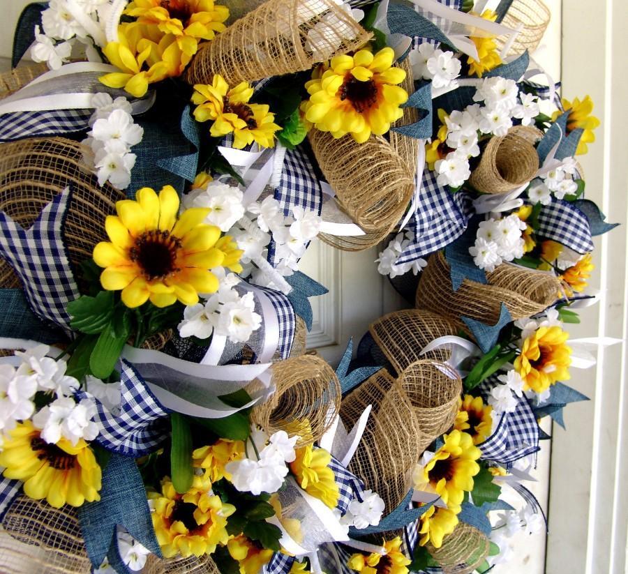 Wonderful Weekend FLASH SALE Sunflower Wreath, Summer, Front Door Decor  ZW03