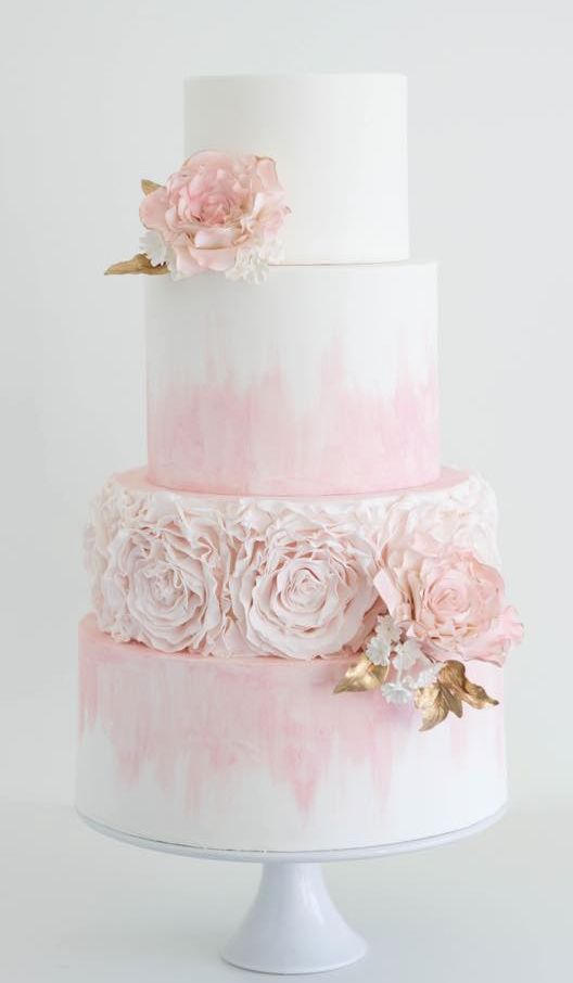 wedding cakes white and light pink wedding theme light pink dyed white wedding cake 25946