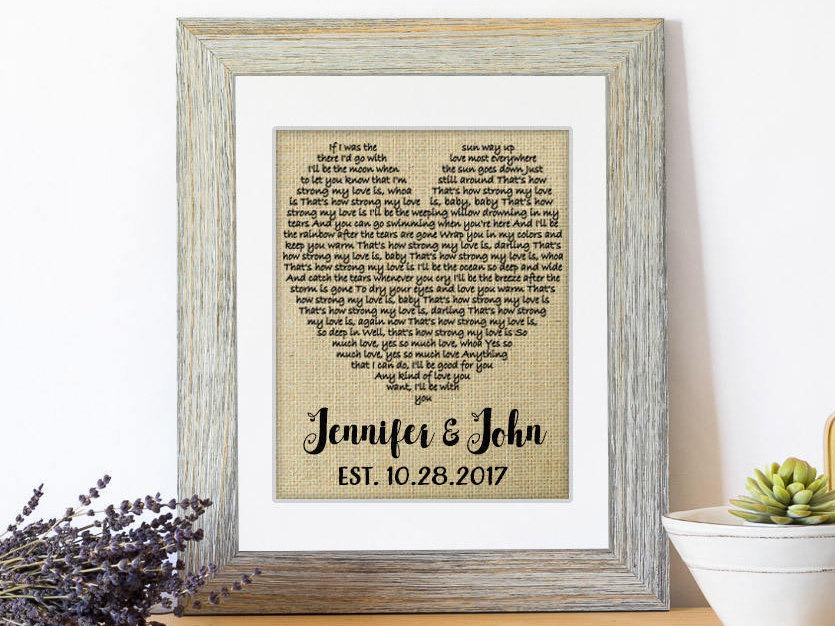 Wedding Gift One Year Anniversary First Dance Love Song Lyrics Personalized 1st Gifts Decor