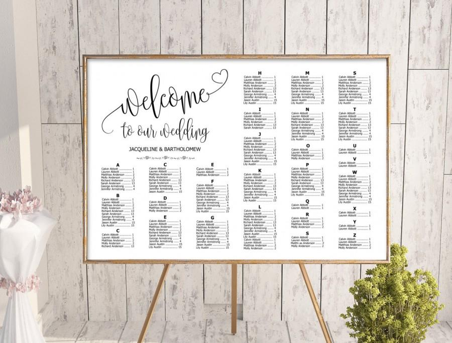 Wedding Alphabetical Seating Chart Template Printable Editable Plan Find Your Seat Sign