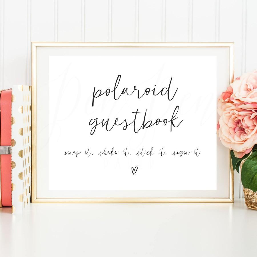 Polaroid Guestbook Sign Wedding Guest Book Photo Printable Instructions Instant