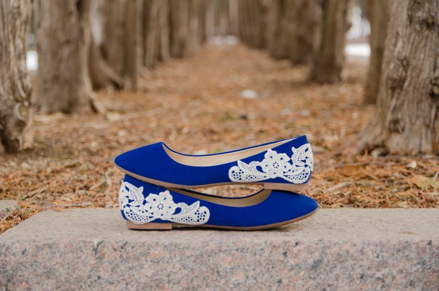 Blue Ballet Flats Wedding Bridal Shoes Low Gift Something Lace With Ivory