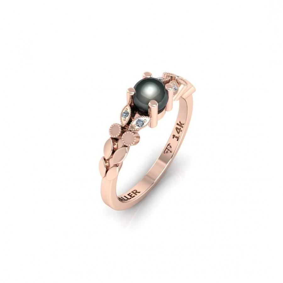 Black Pearl Engagement Ring Wedding Rose Gold Unique Band