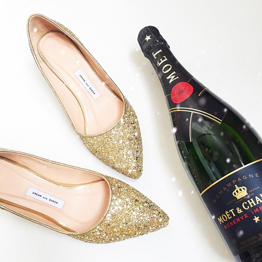 Eu 40 Wedding Shoes Bridal Low Heel Gold Gift For Women Glitter Her Bridesmaid