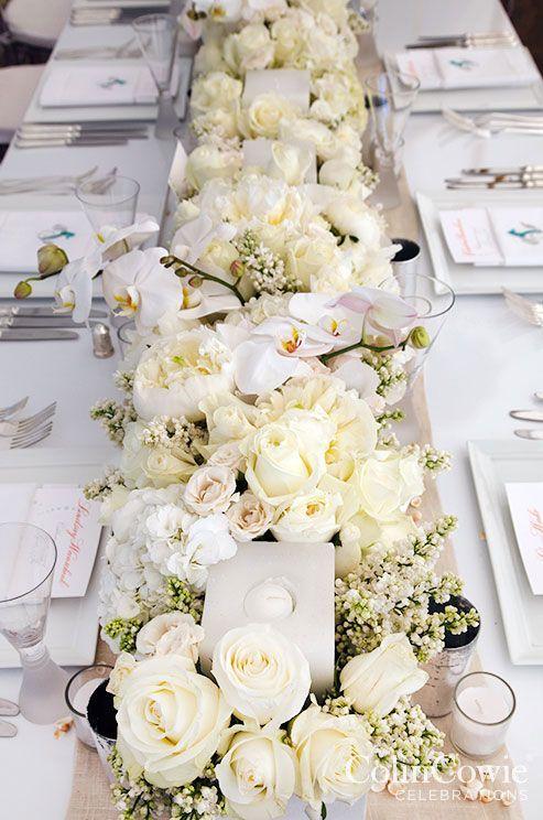 Full Table White Flower Wedding Reception Centerpiece