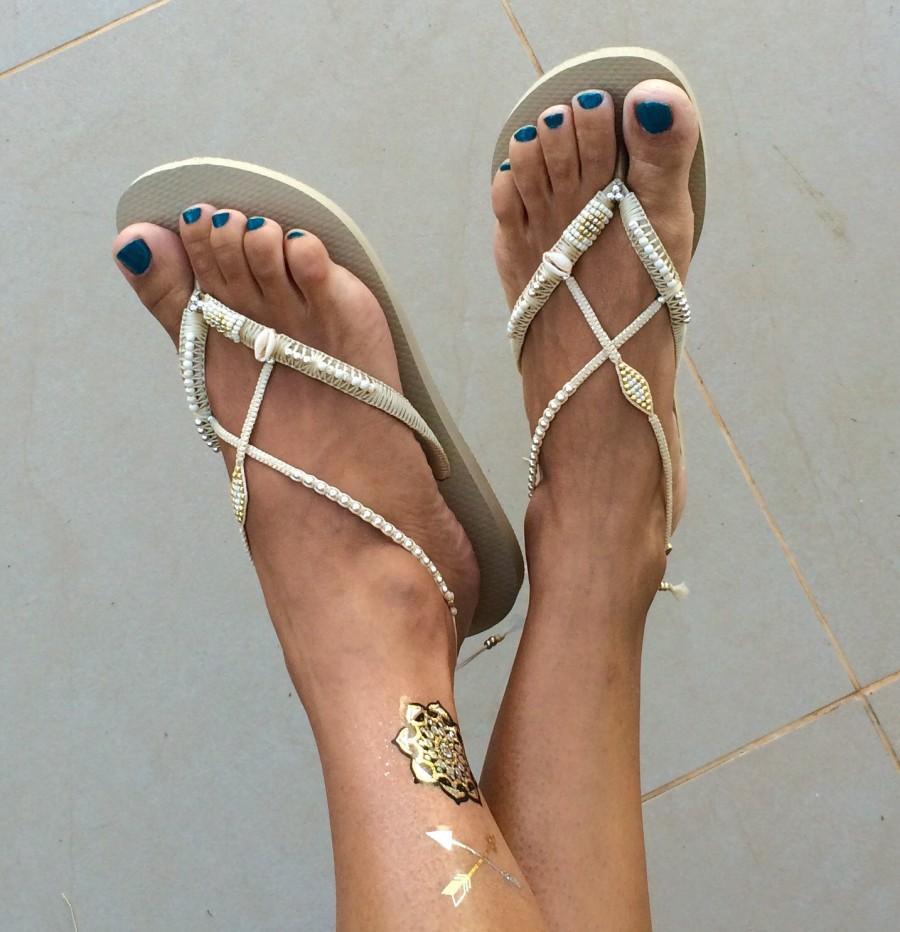 Bridal Flip Flops Wedding Bridesmaid Silver Gold Flop Sandals Comfortable Shoe Boho