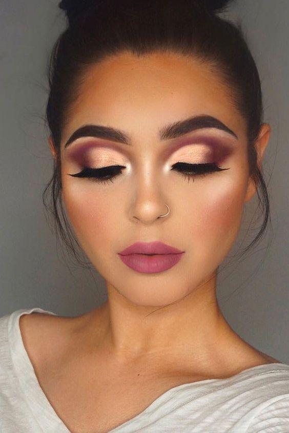 Makeup Gold And Maroon Eyeshadow Weddbook