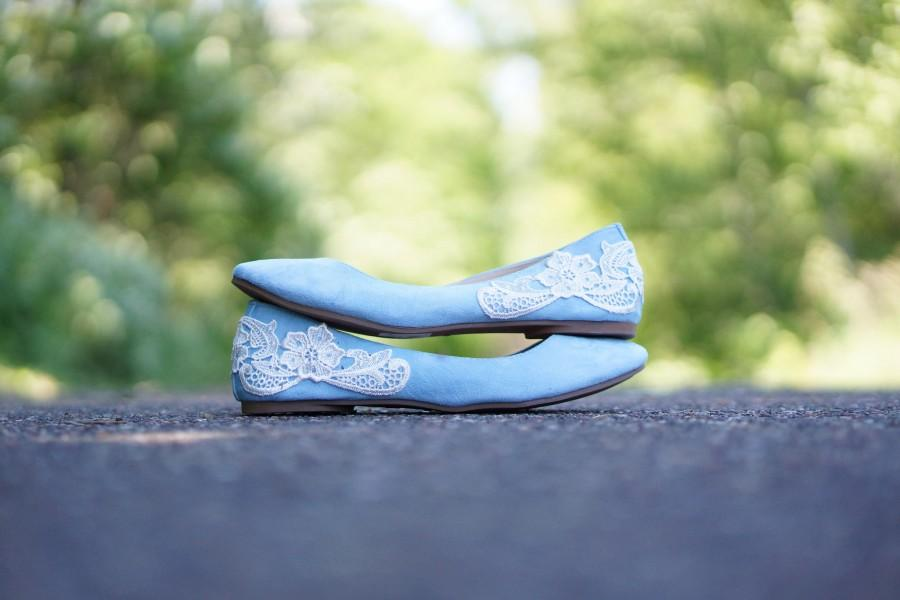 Light Blue Ballet Flats Wedding Bridal Shoes Bridesmaid Low Gift Something With Ivory Lace