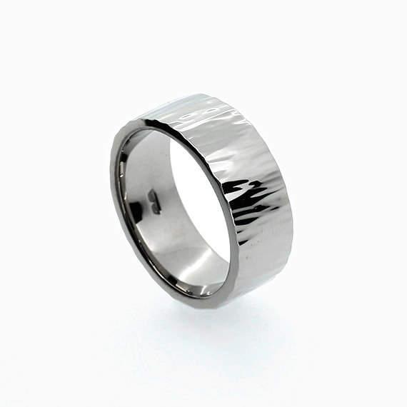 Roche Wedding Band In Palladium Hammered Ring Men S Unique Wide Custom