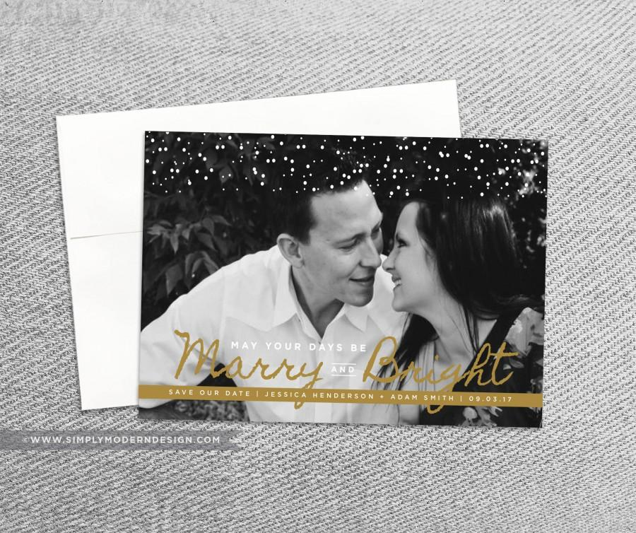 Save The Date Christmas Card Modern Marry And Bright Merry Our Wedding Printable Or Printed Cards