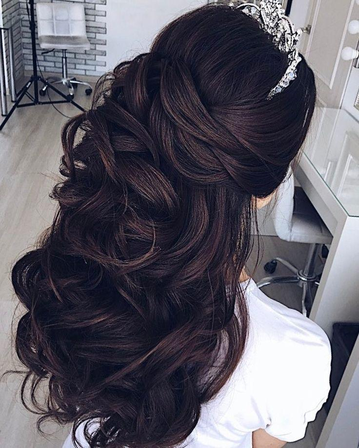 Half Up Down Wedding Hairstyle Partial Updo Bridal Ideas