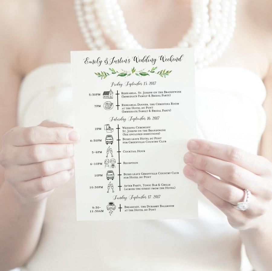 Wedding Timeline Printable Itinerary Customized Weekend Icon Destination