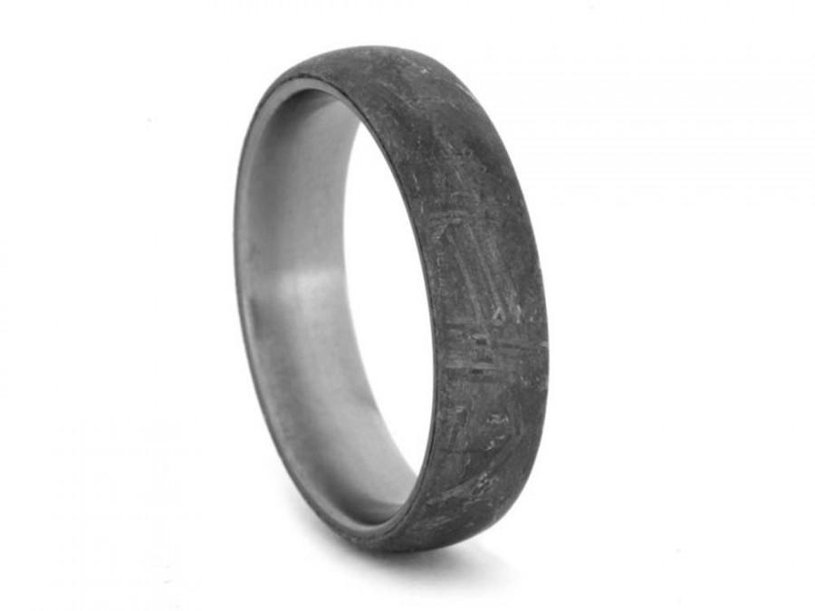 Gibeon Meteorite Ring With Anium Rare Masculine Mens Wedding Band Overlay