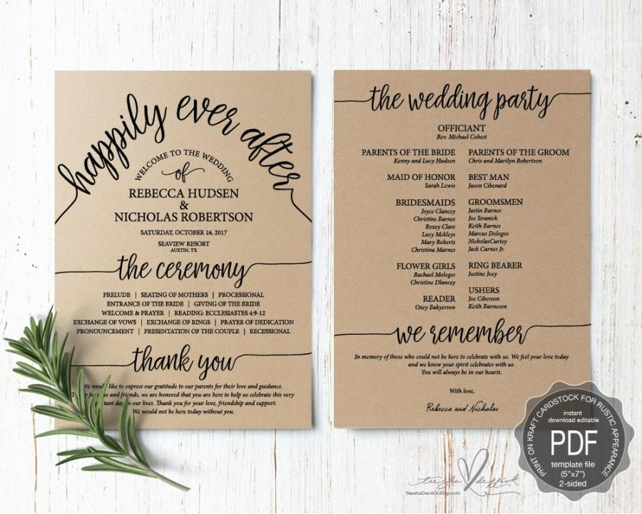 Wedding Program Pdf Card Template Instant Editable Printable Ceremony Order In Typography Rustic Theme Ted410 12