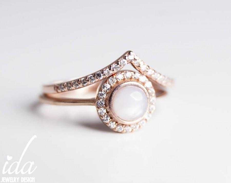 Engagement Ring Rose Gold Opal Wedding Band Art Nouveau Halo