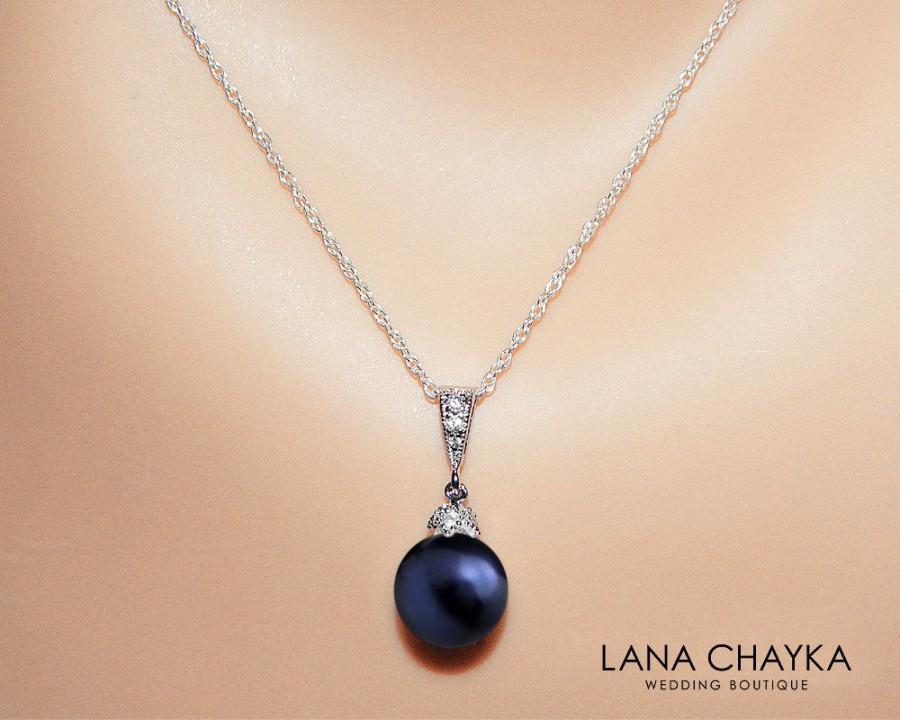 Navy Blue Pearl Bridal Necklace