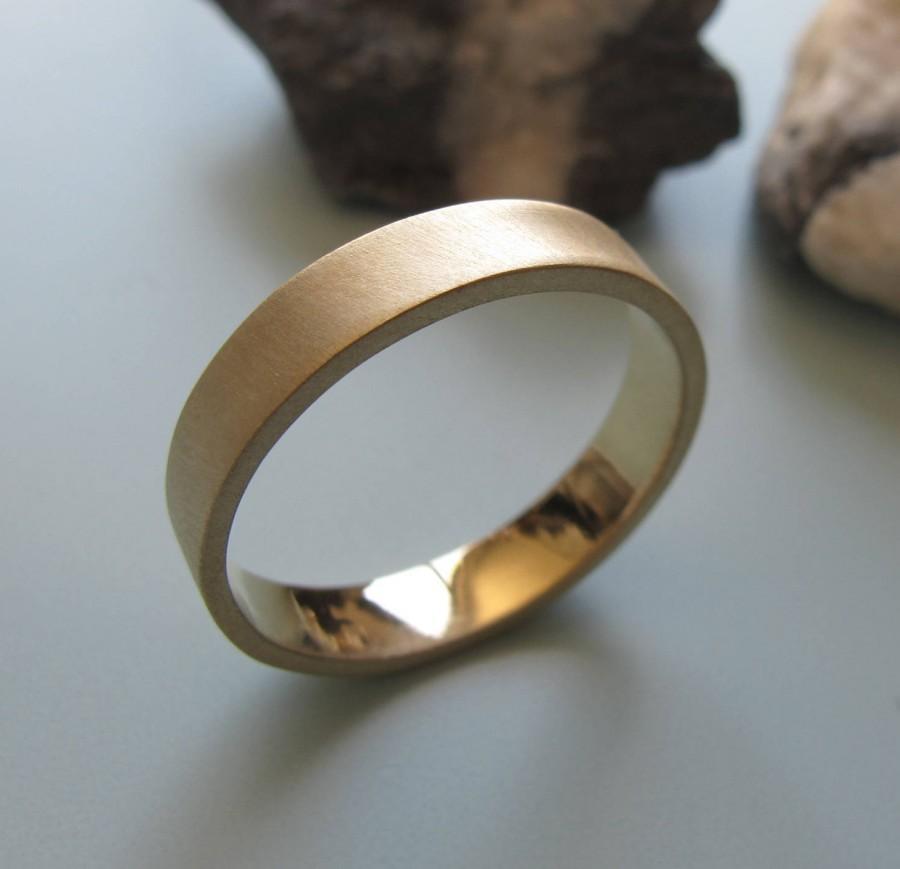 Man Wedding Band Ring Mens Gold Ring Wide Gold Ring Brushed