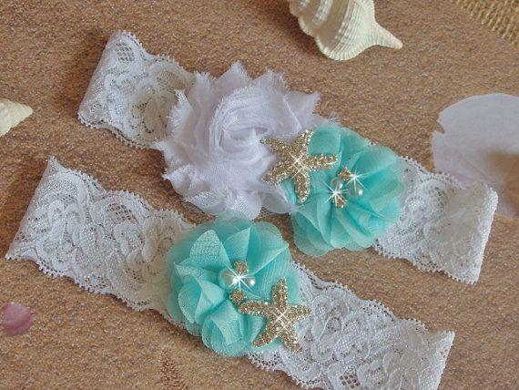 Mint Beach Wedding Garter Set Starfish Bridal Belts White Lace Green Destination