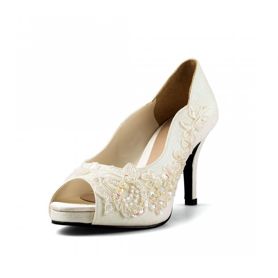 Jill Ivory Glitter Lace Lower Heel Bridal Wedding Shoe Fl Heels