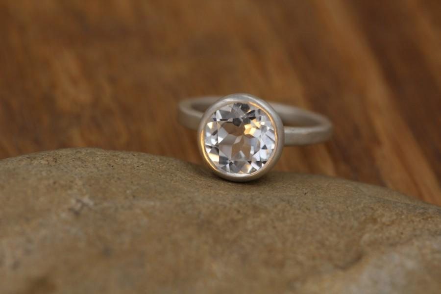 White Topaz Alternative Engagement Ring Clear Silver Conflic Free Bezel