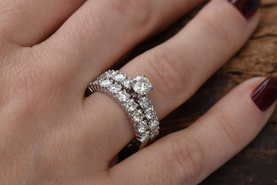 2 Carat Diamond Wedding Set 14k White Gold Promise Ring Art Deco Cer Band Engagement Cyber