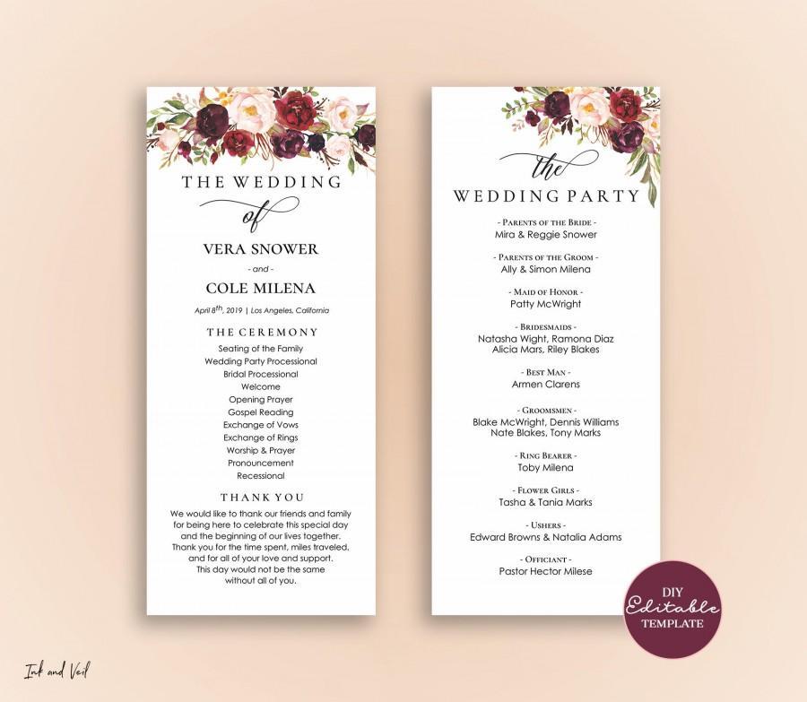 Editable Wedding Program Template Order Of Ceremony Printable Programs Instant Marsala Burgundy Blush Vera