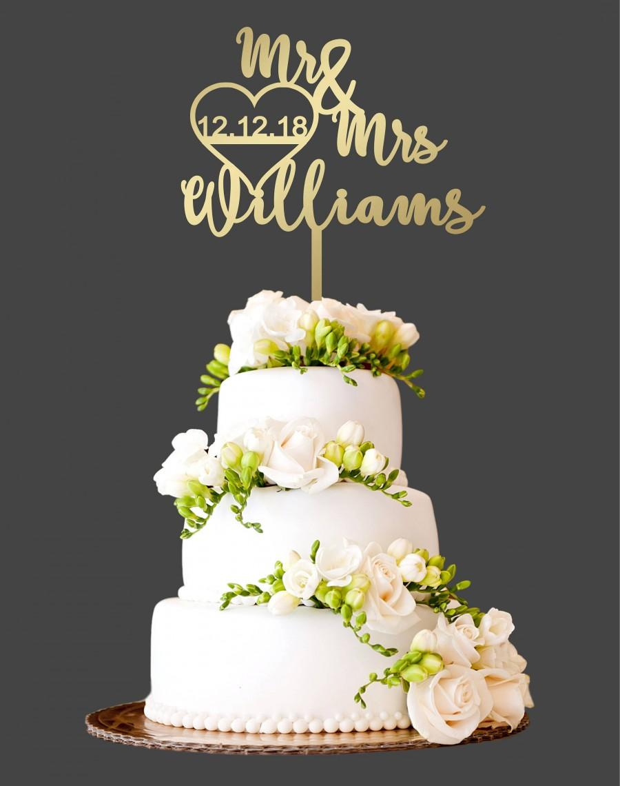 Customized Wedding Cake Topper Date Last Name Decorations Rustic Wood Ct21