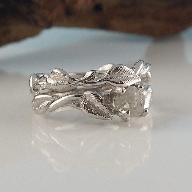 14k White Gold Raw Diamond Engagement Ring Set Twig And Vine Wedding Hand Sculpted One Of A Kind Stacking Rings By Dawn Vertrees