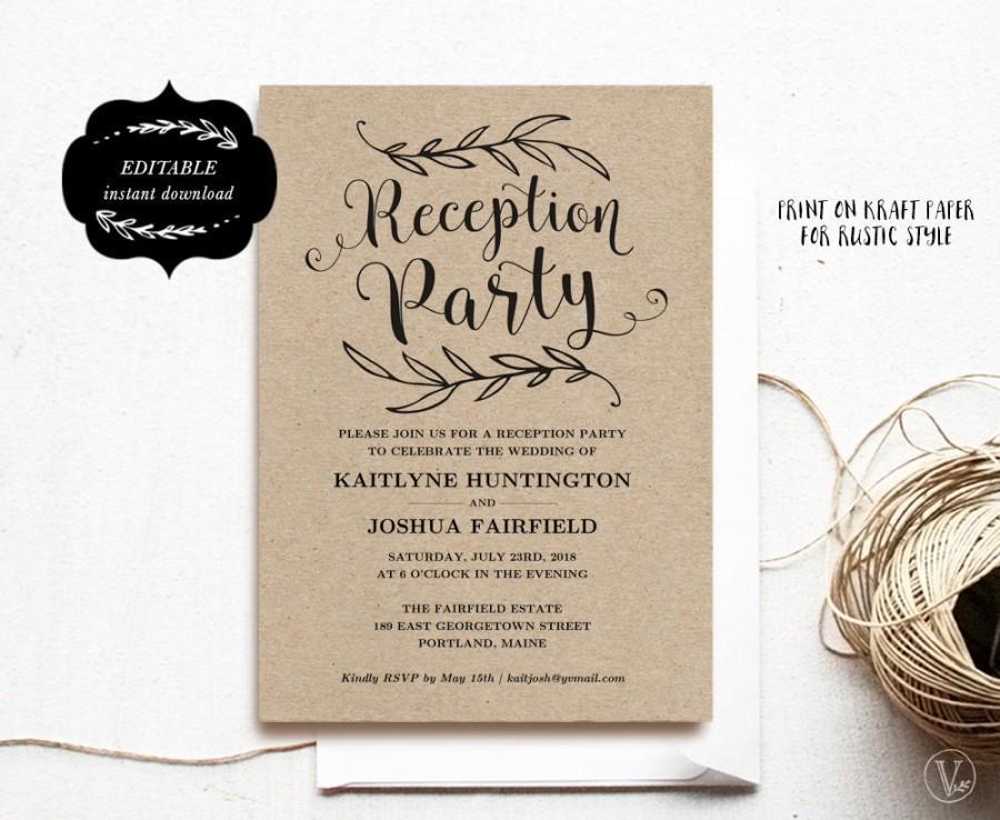 Wedding Reception Party Invitation Template Kraft Card Instant Editable Text 5x7 Rp001 Vw01