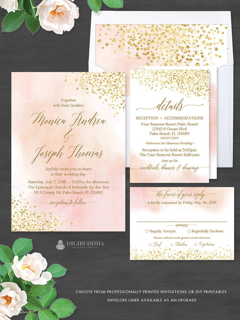 Blush Watercolor Gold Foil 3pc Wedding Suite Invitation Set Elegant Invites Rsvp Monica