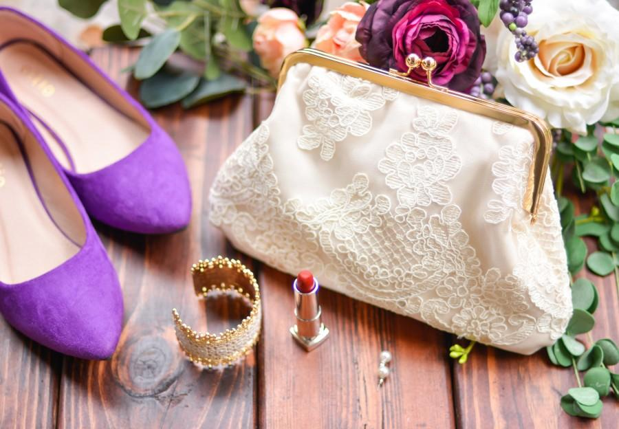 Lace Bridal Clutch Bride Gift Personalized Purse Wedding Day Ivory For Bridesmaid