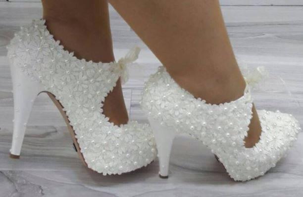 Wedding Shoes Bridal Bride Bridesmaid Handmade Daisy Design Lace