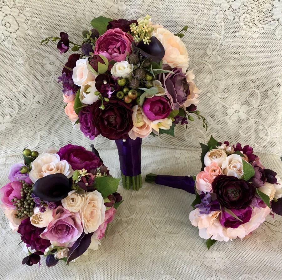 wedding bouquet,plum purple bridal bouquet,silk wedding