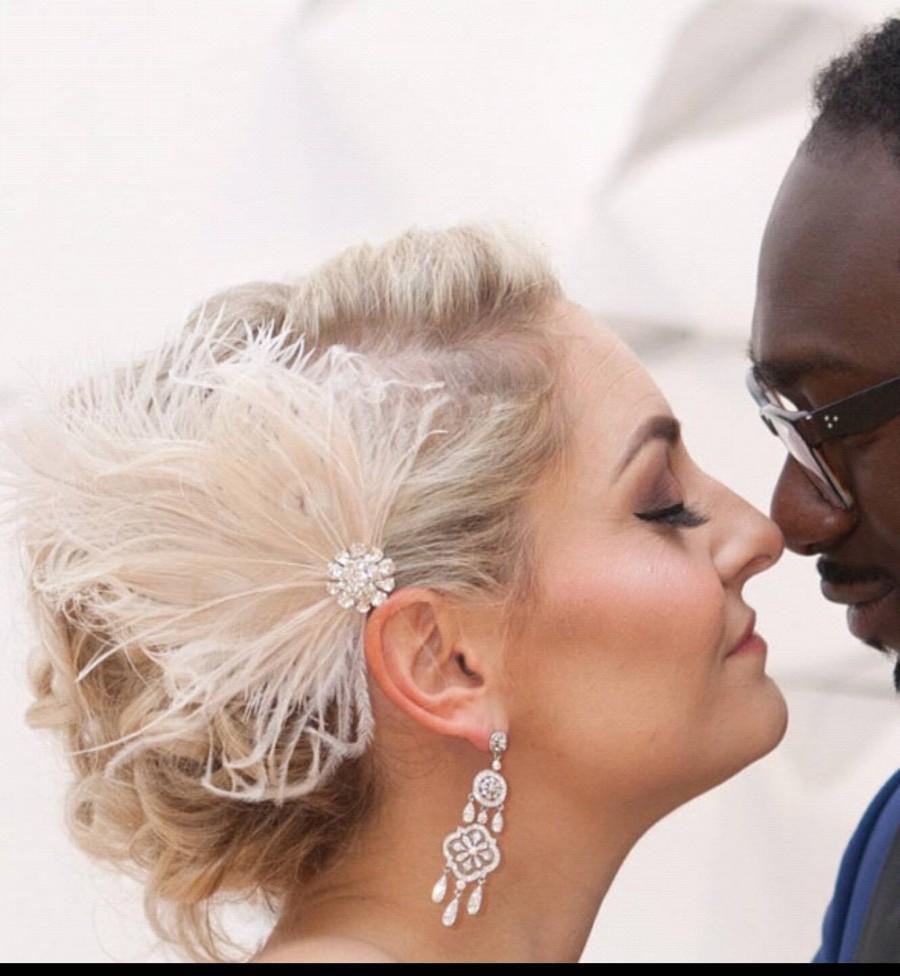 wedding fascinator, feather hair clip, ivory fascinator, bridal hair