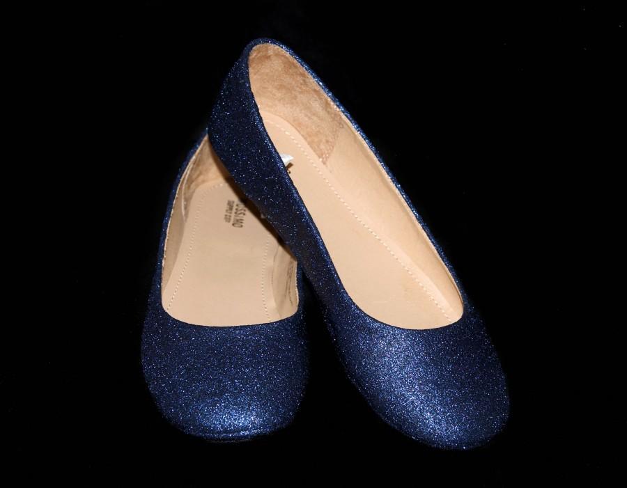 Wedding Shoes Dark Blue Navy Flats Flat Bridal Custom Glitter