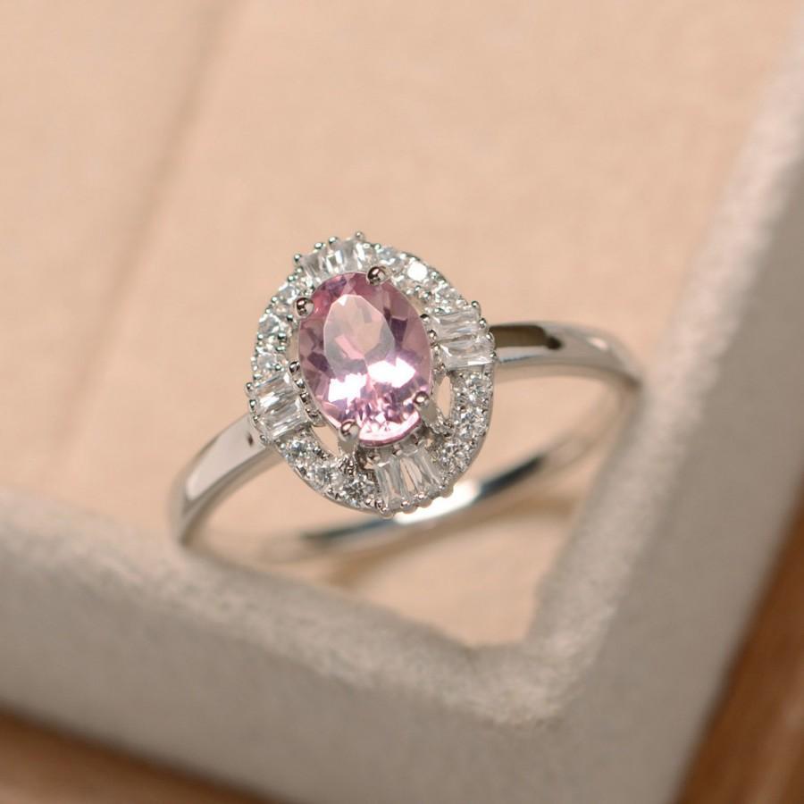 Pink Tourmaline Ring Gemstone October Birthstone Wedding Promise
