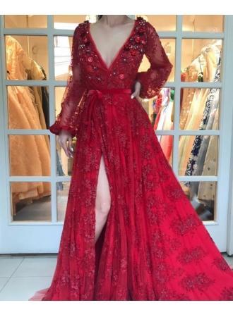 Abendkleid lang rot mit armel