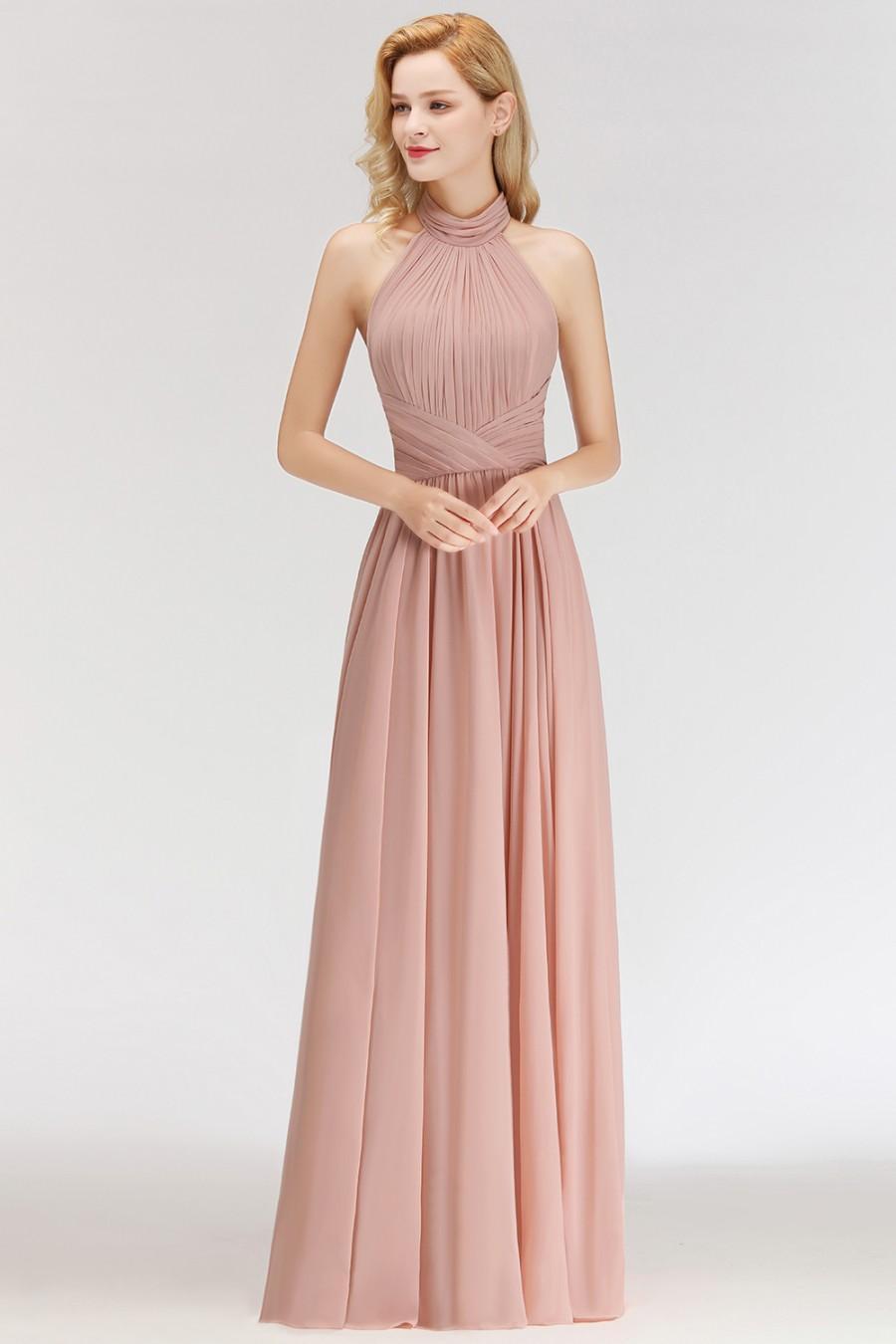 Modern Rosa Long Chiffon Brautjungfernkleider Etuikleid Kleider