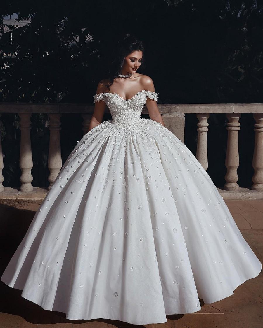 Fashion Hochzeitskleider Prinzessin Creme Bodenlang Brautkleider