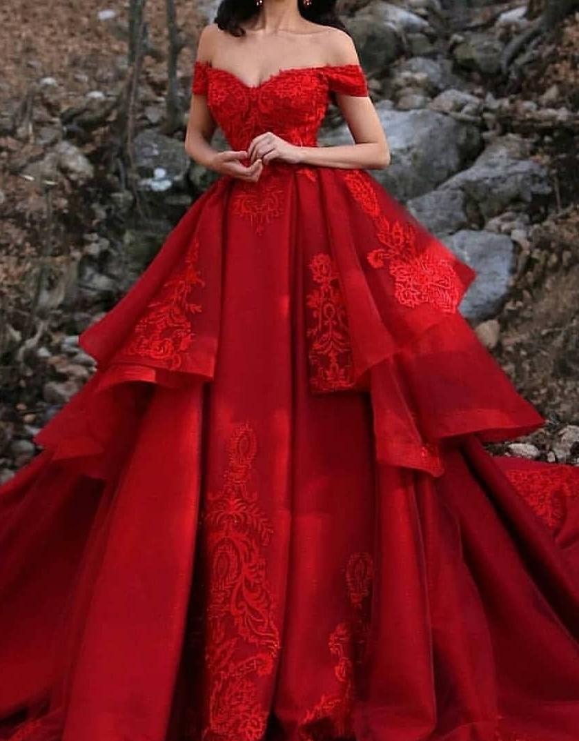 Luxus Hochzeitskleider Rot A Linie Spitze Brautkleider Günstig
