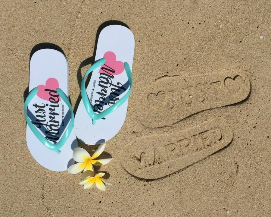 Just Married Imprint Honeymoon Beach Wedding Flip Flops Slippers Stamp In Sand