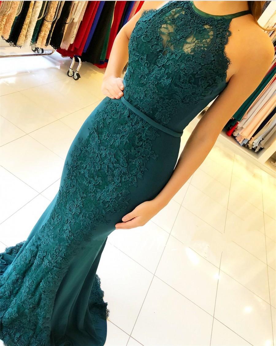 Neue Abendkleider Lang Spitze Grün Chiffon Kleider Abendmoden