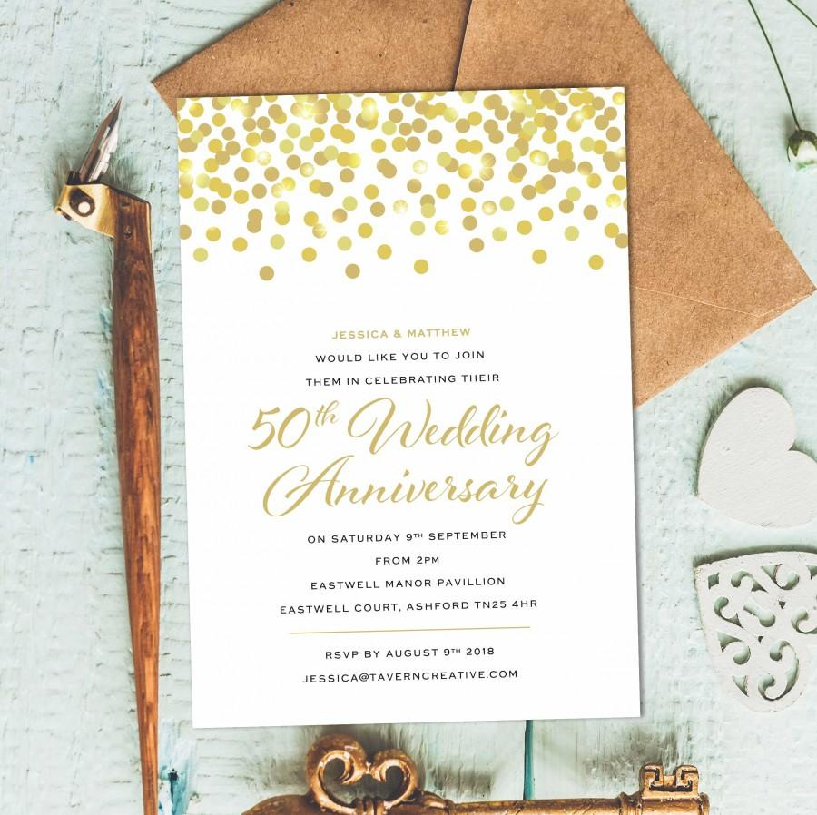 5th Anniversary Invitation, Golden Wedding Party, Anniversary