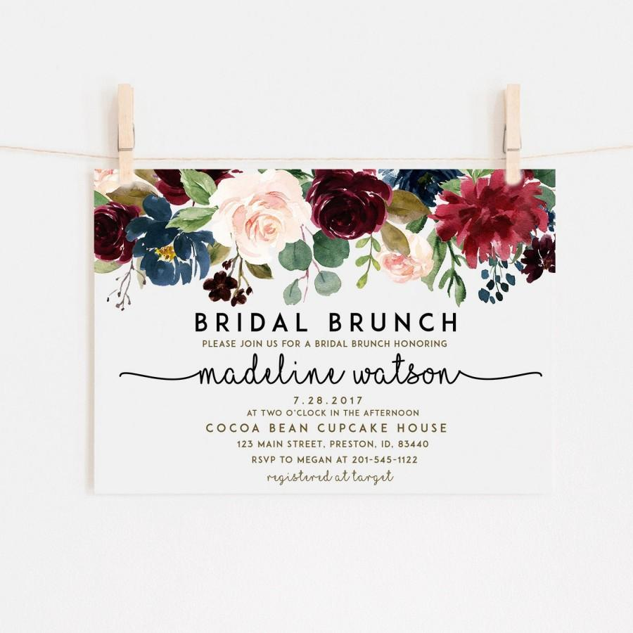 Fall Floral Bridal Brunch Invitation Burgundy Instant Download
