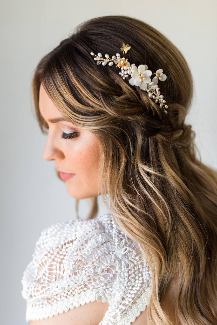 Pearl Hair Comb Gold Bridal