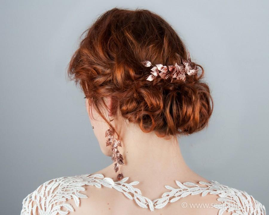 Bridal Hair Comb Rose Gold Color Vintage Wedding Woodland Bride Prom Hairstyle Goddess Wedding Accessories Bridal Hair Accessories 2970292 Weddbook