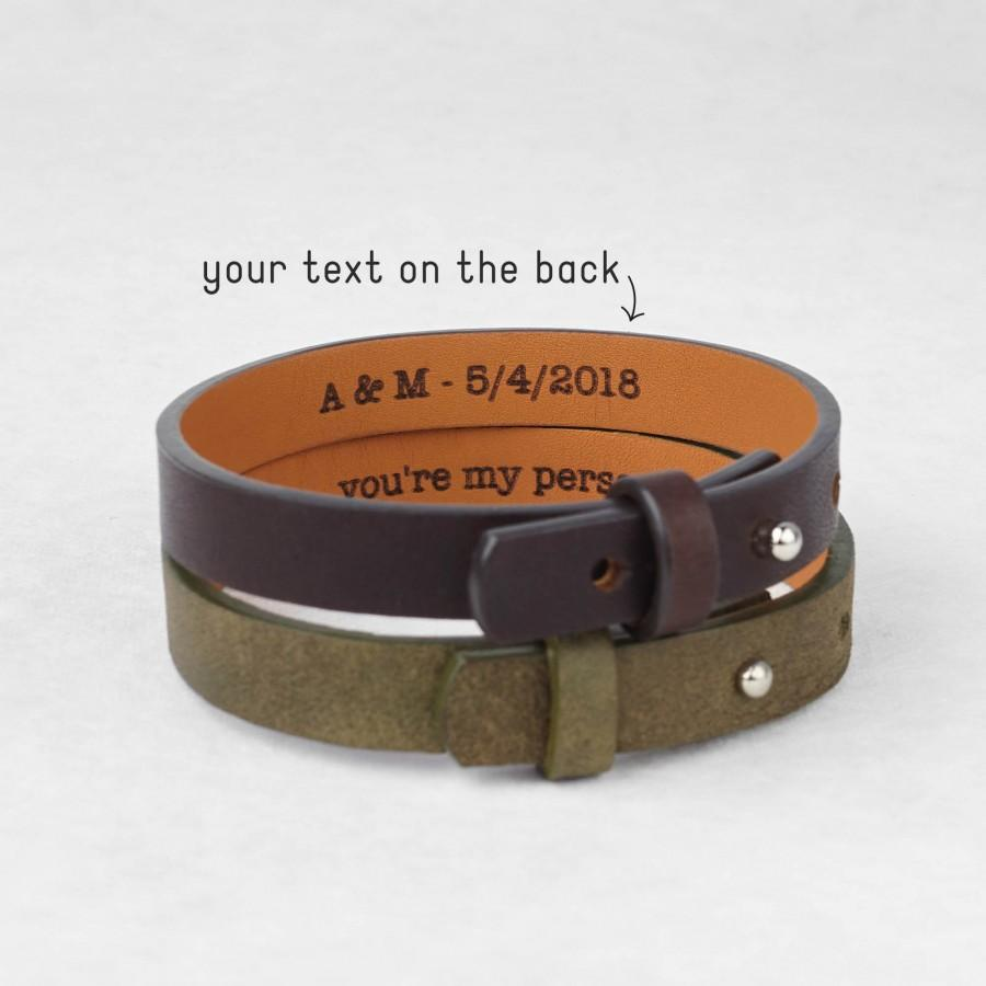 Mens Leather Bracelet Personalized Leather Anniversary Gifts For Him Secret Message Bracelet Anniversary Gift For Boyfriend Bracelet Men 2973760 Weddbook