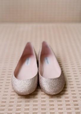 Silver Sparkly Wedding Flats Glitter Bridal