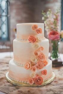 white peach and gold wedding cake wedding ideas coral weddbook 27306